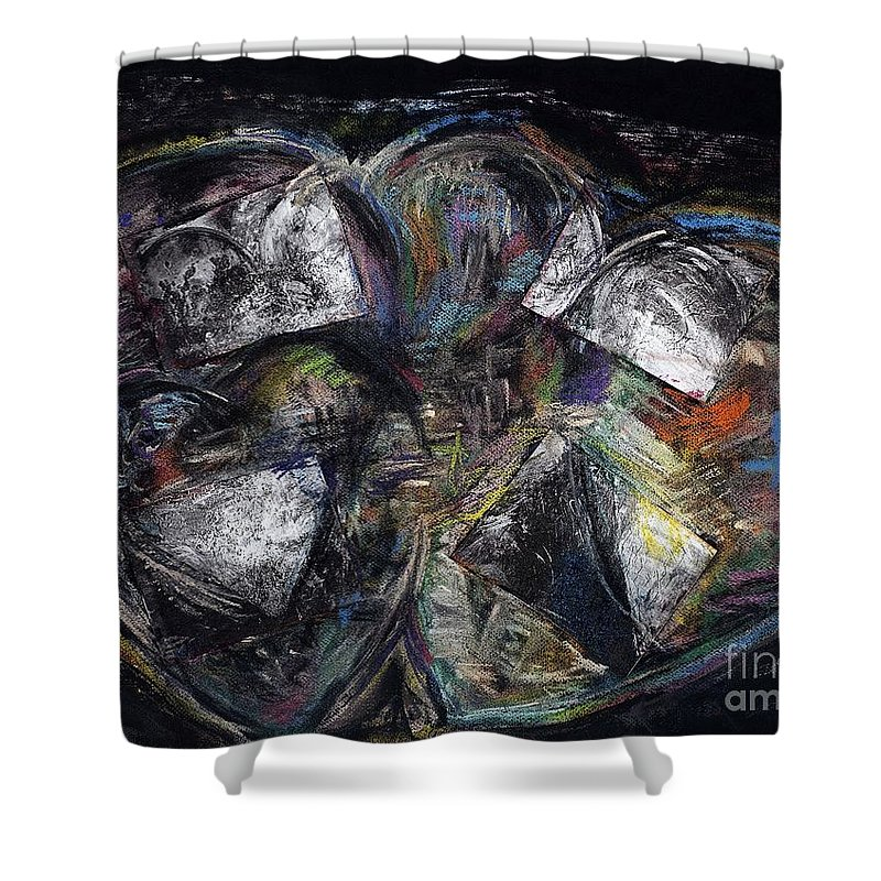 Abstract Heart Shower Curtain featuring the painting Lots Of Heart by Frances Marino