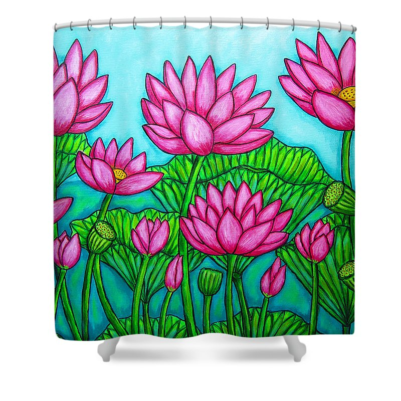 Lotus Shower Curtain featuring the painting Lotus Bliss II by Lisa Lorenz