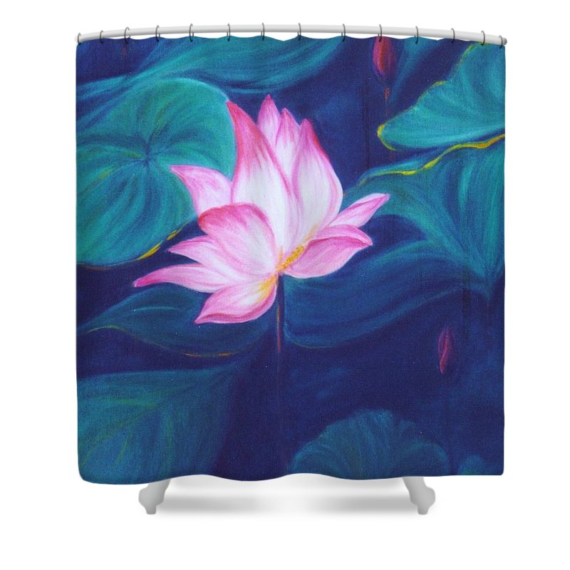 Floral Shower Curtain featuring the painting Lotus by Dina Holland