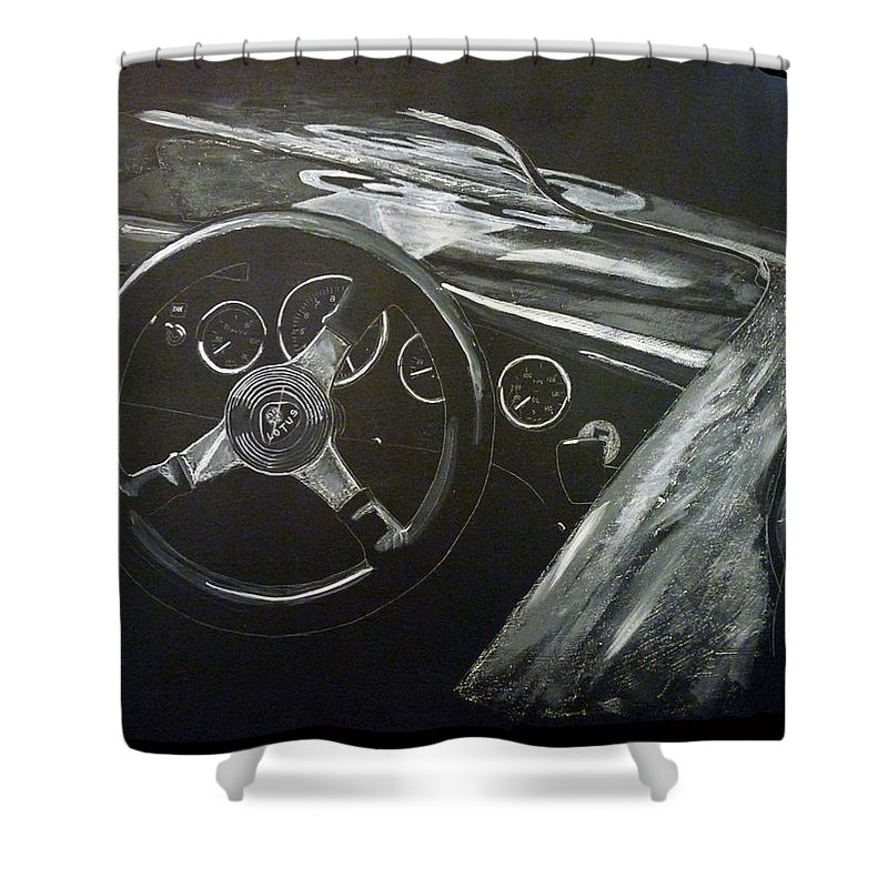 Lotus Eleven Shower Curtain featuring the painting Lotus Eleven by Richard Le Page