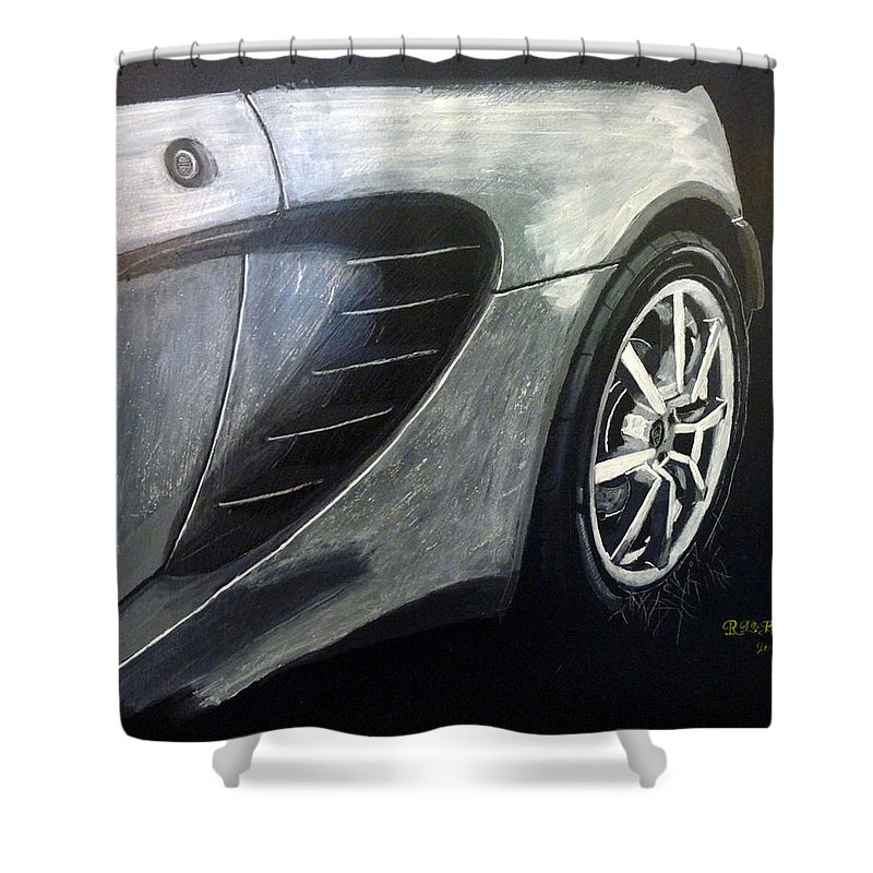 Lotus Exige Shower Curtain featuring the painting Lotus Exige Rear Side by Richard Le Page