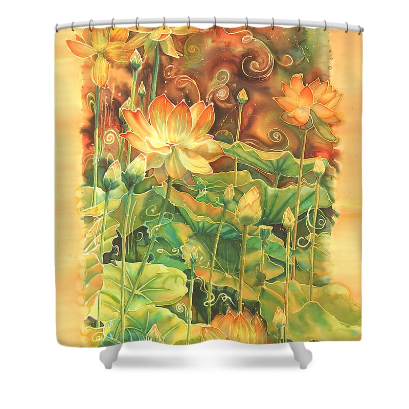 Flower Shower Curtain featuring the painting Lotus Field by Deborah Younglao