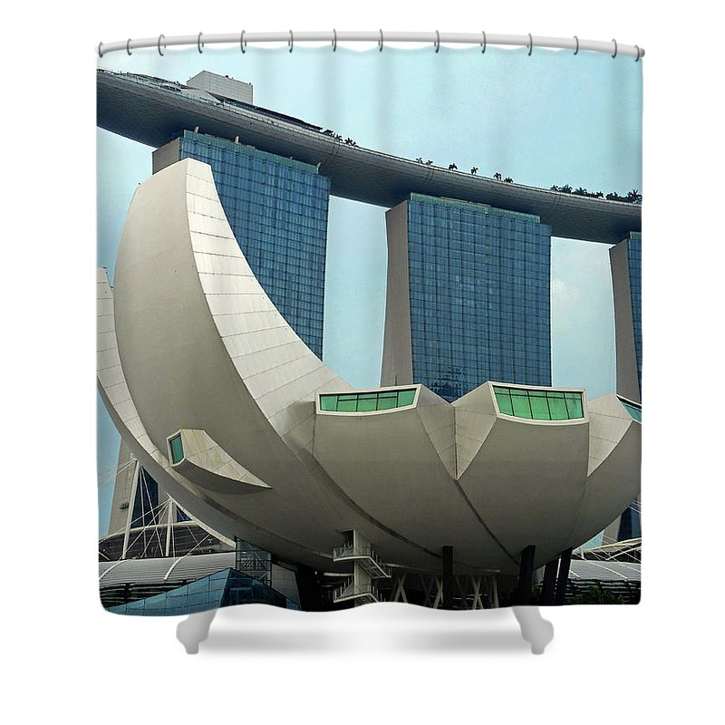 Singapore Shower Curtain featuring the photograph Lotus Flower 5 by Ron Kandt