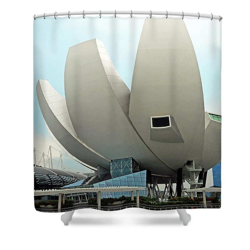 Singapore Shower Curtain featuring the photograph Lotus Flower 7 by Ron Kandt