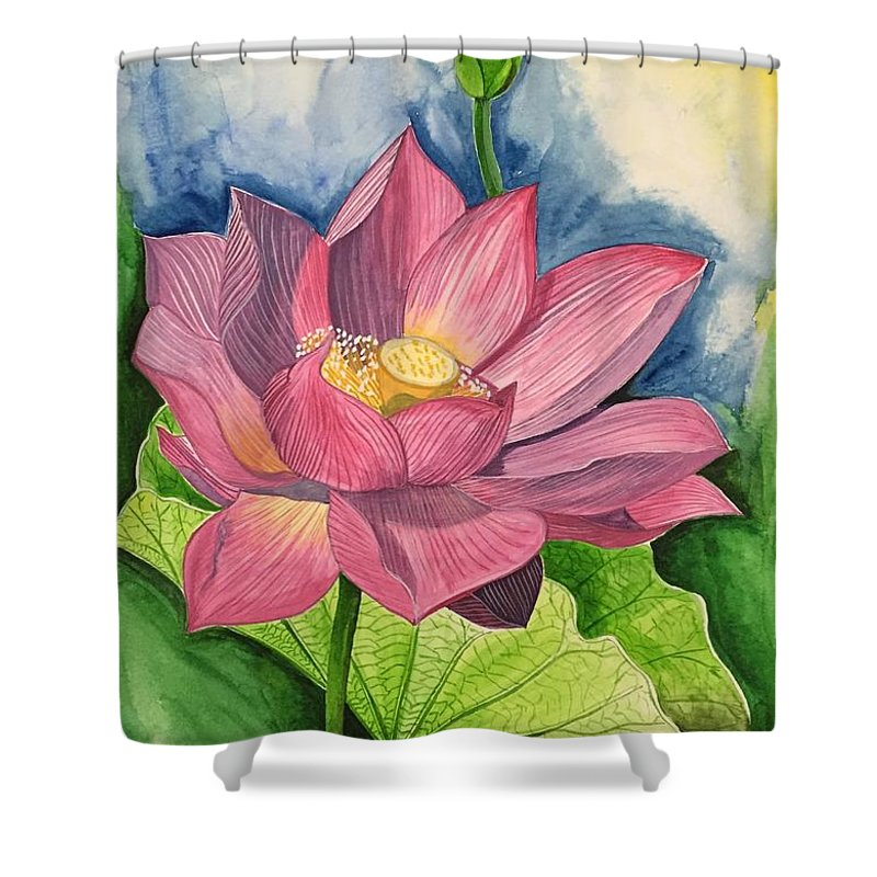 Lotus Flower In Water Color Shower Curtain For Sale By Pushpa Sharma