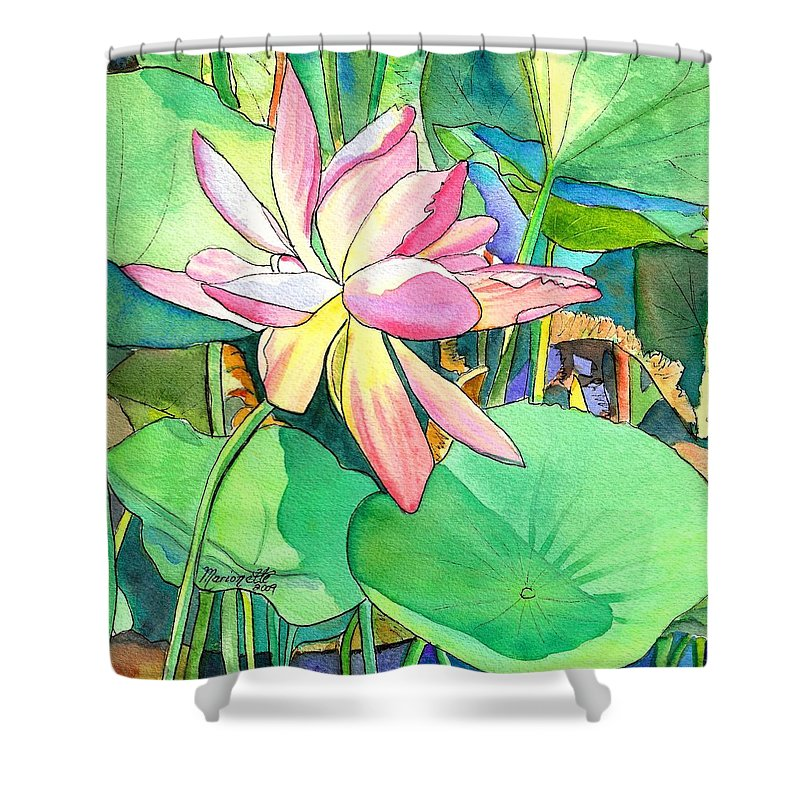 Kauai Shower Curtain featuring the painting Lotus Flower by Marionette Taboniar