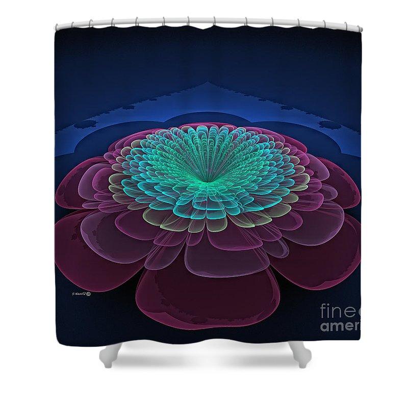 lotus Flower Shower Curtain featuring the digital art Lotus Flower by Shari Nees