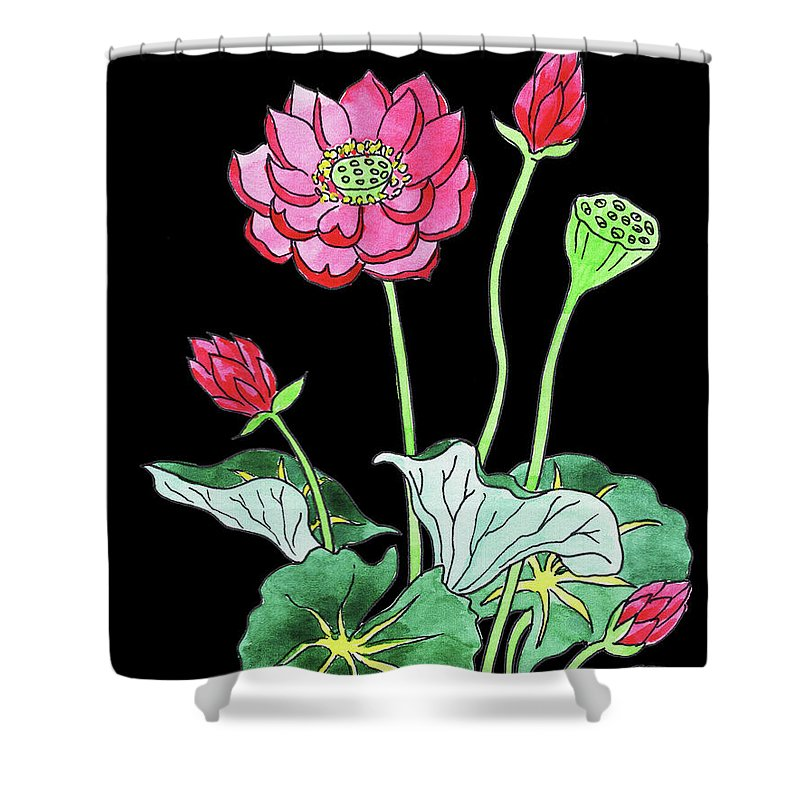 Lotus Flower Watercolour Shower Curtain For Sale By Irina Sztukowski