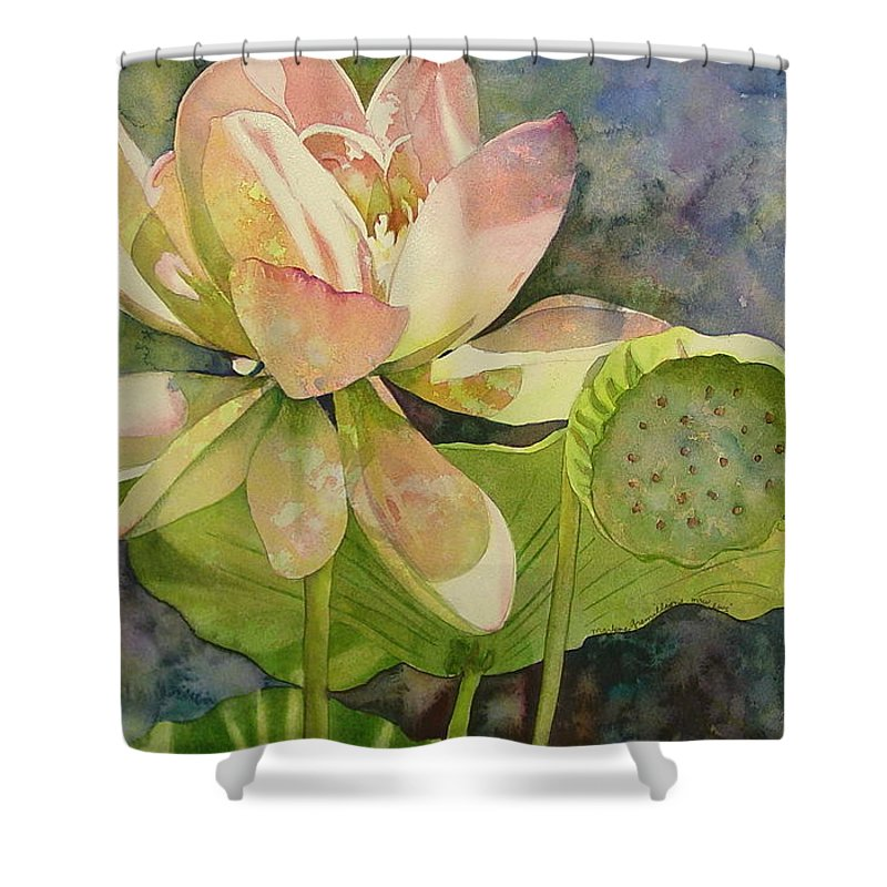 Watercolor Shower Curtain featuring the painting Lotus by Marlene Gremillion