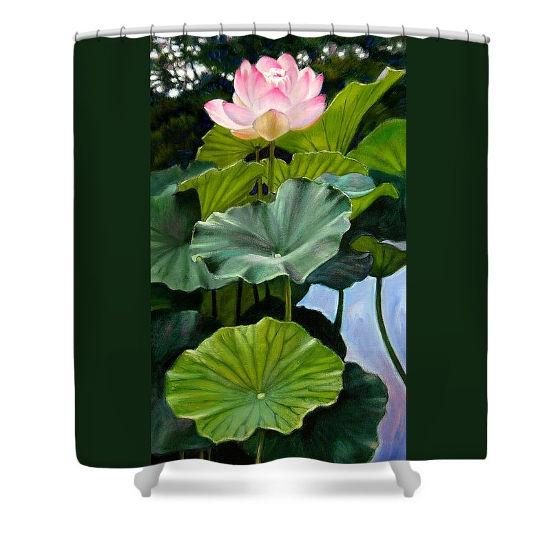 Lotus Flower Shower Curtain featuring the painting Lotus Rising by John Lautermilch