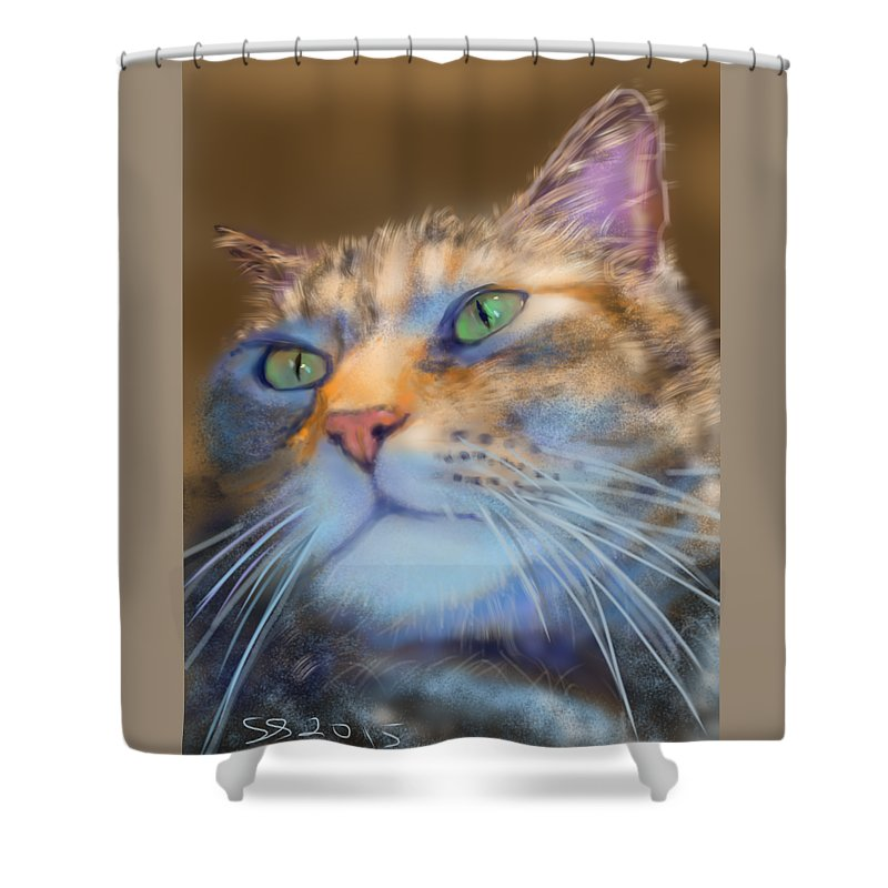 Cat Shower Curtain featuring the painting Louanne by Susan Sarabasha