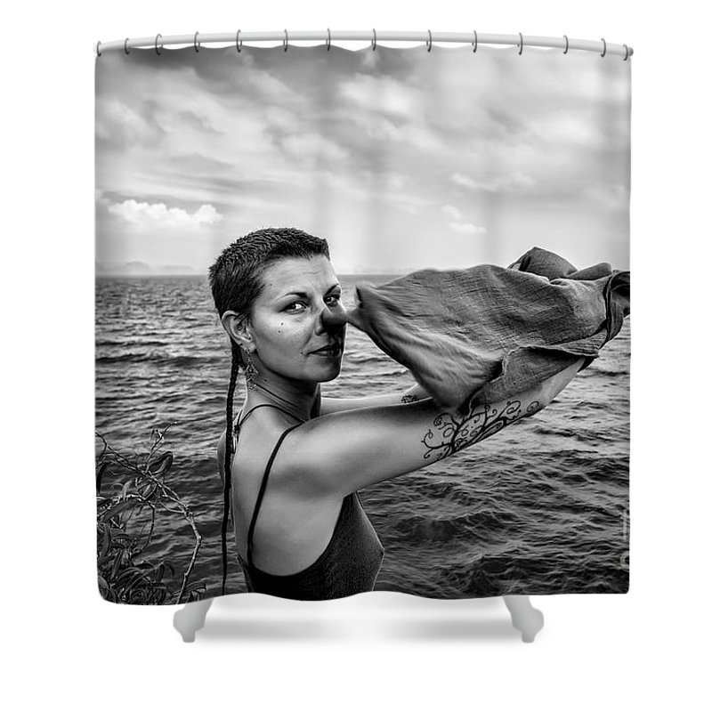 Women Shower Curtain featuring the painting Lougaa Carine by Svetlin Yosifov