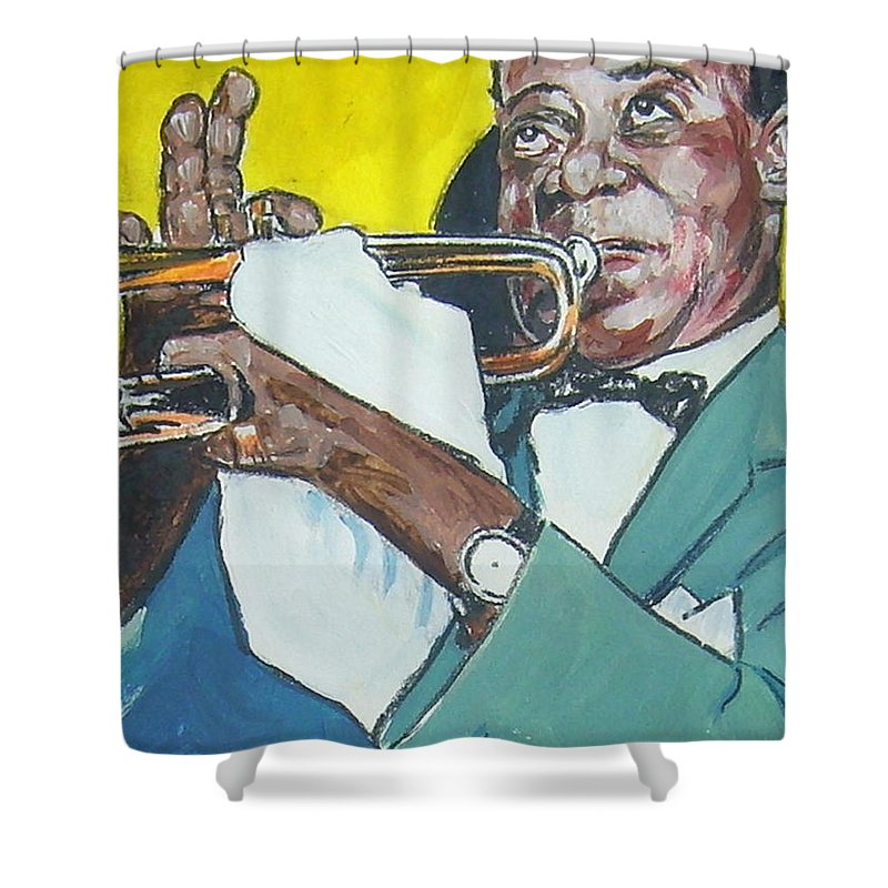 Louis Armstrong Shower Curtain featuring the painting Louis Armstrong by Bryan Bustard