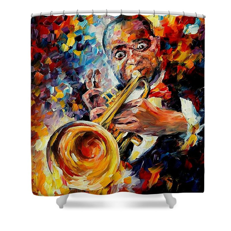 Music Shower Curtain featuring the painting Louis Armstrong by Leonid Afremov