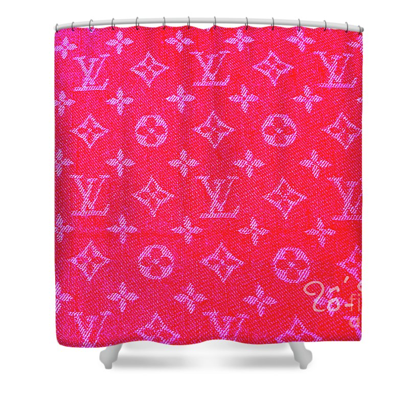Louis Vuitton Shower Curtain Featuring The Digital Art Hot Pink Monogram By To