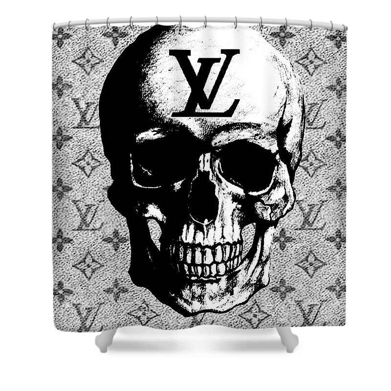 Louis Vuitton Skull Print Shower Curtain Featuring The Mixed Media Poster By Del Art