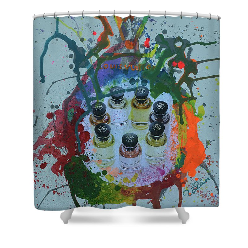 Louis Vuitton Shower Curtain featuring the mixed media Louis Vuitton Seven Fragance by To-Tam Gerwe