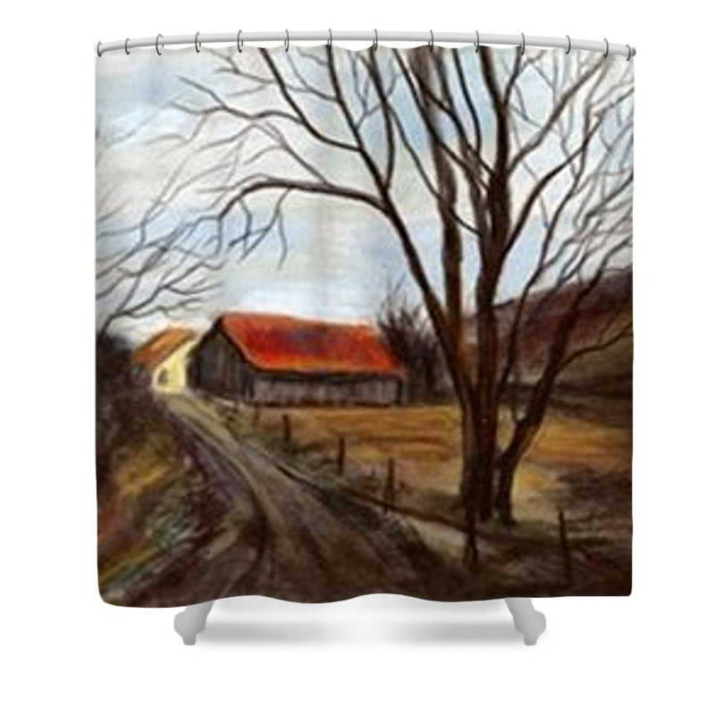 Barn Shower Curtain featuring the painting Louisa Kentucky Barn by Gail Kirtz