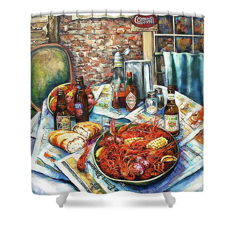 New Orleans Art Shower Curtain featuring the painting Louisiana Saturday Night by Dianne Parks