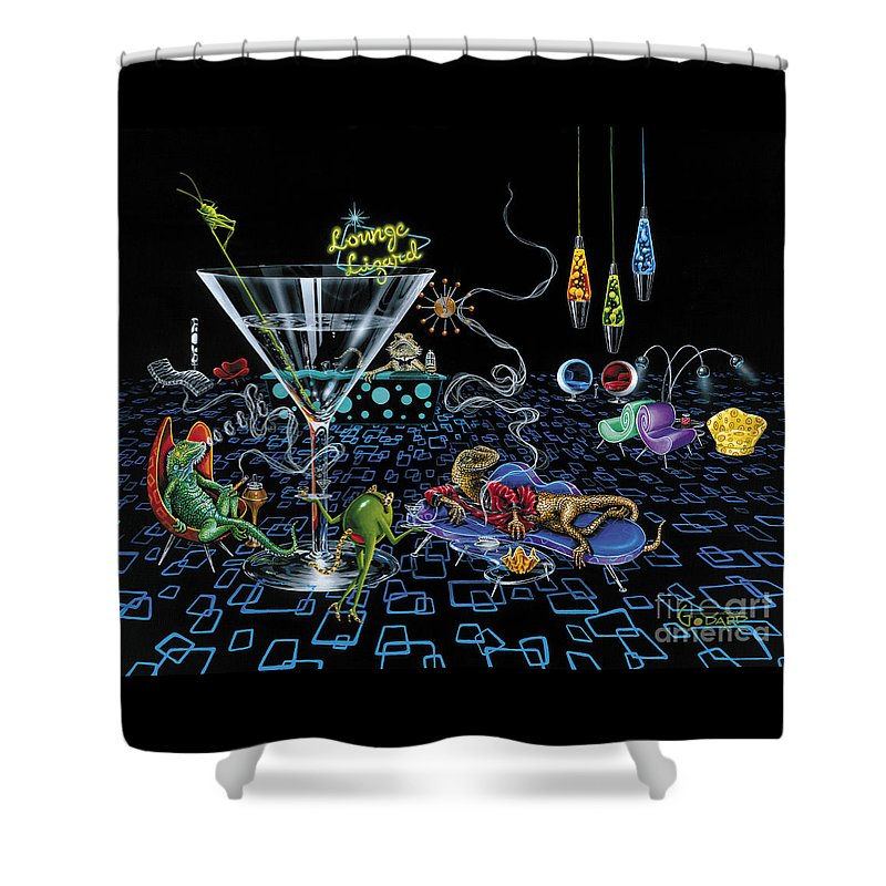 Retro Shower Curtain featuring the painting Lounge Lizard by Michael Godard