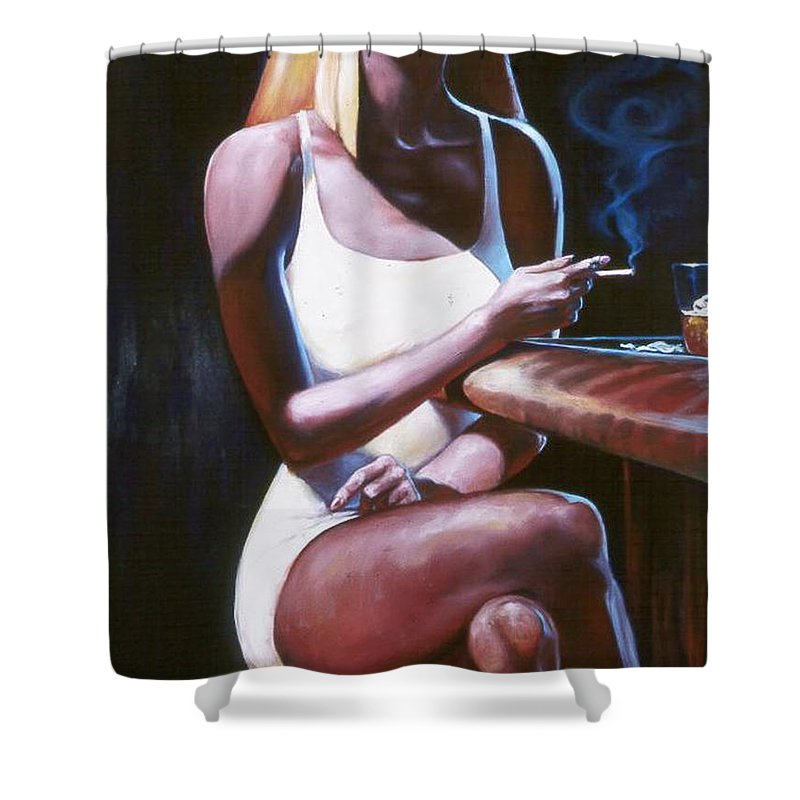 Figure Shower Curtain featuring the painting Lounge Lizard's Eye View by T Ezell