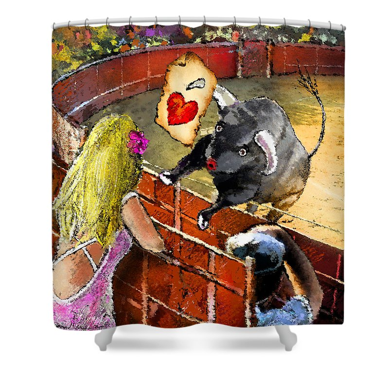 Bullfight Shower Curtain featuring the painting Lova Bull by Miki De Goodaboom