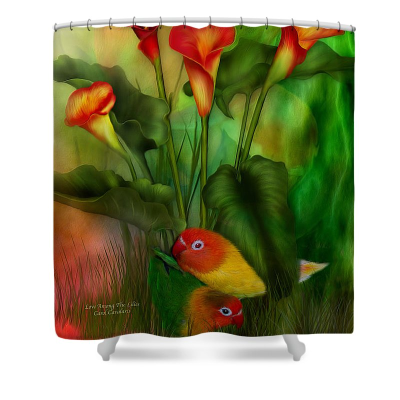Lovebird Shower Curtain featuring the mixed media Love Among The Lilies by Carol Cavalaris