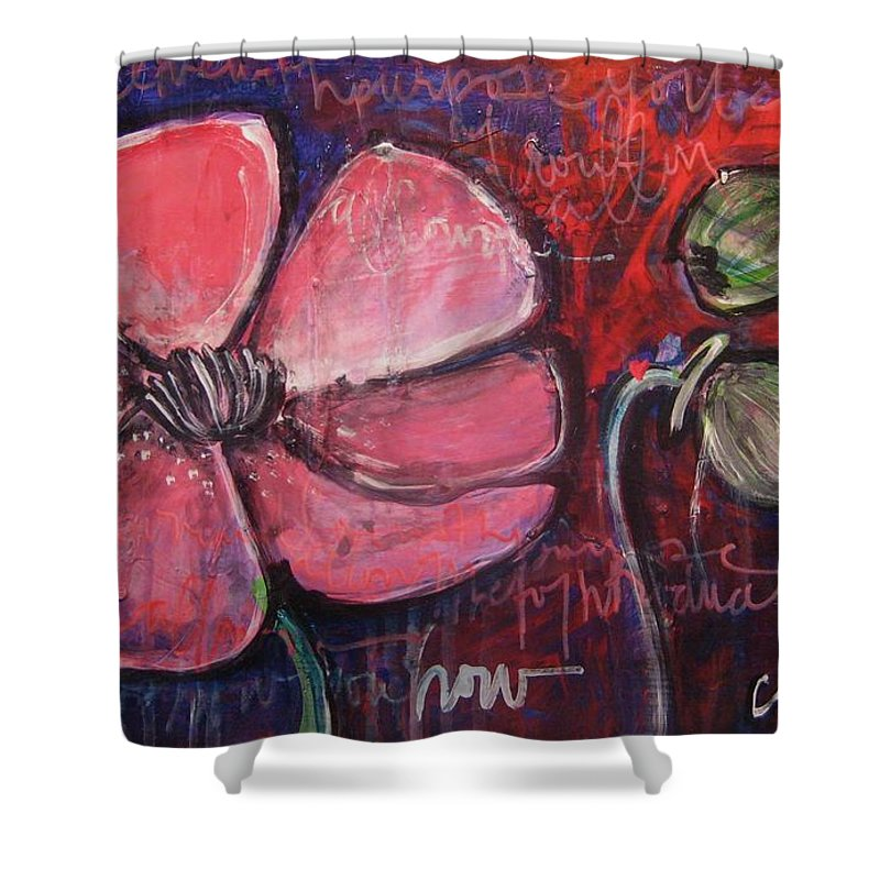 Purple Shower Curtain featuring the painting Love And Live With Purpose Poppies by Laurie Maves ART