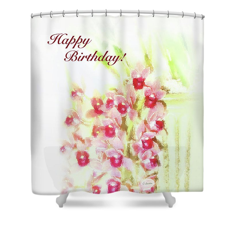Birthday Card For Women Shower Curtain Featuring The Painting Love At First Sight
