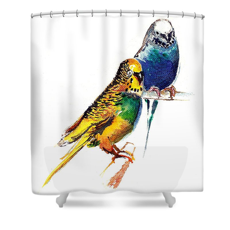 Nature Shower Curtain featuring the painting Love Birds by Anil Nene