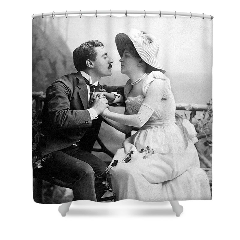 1890 Shower Curtain featuring the photograph Love, C1890 by Granger