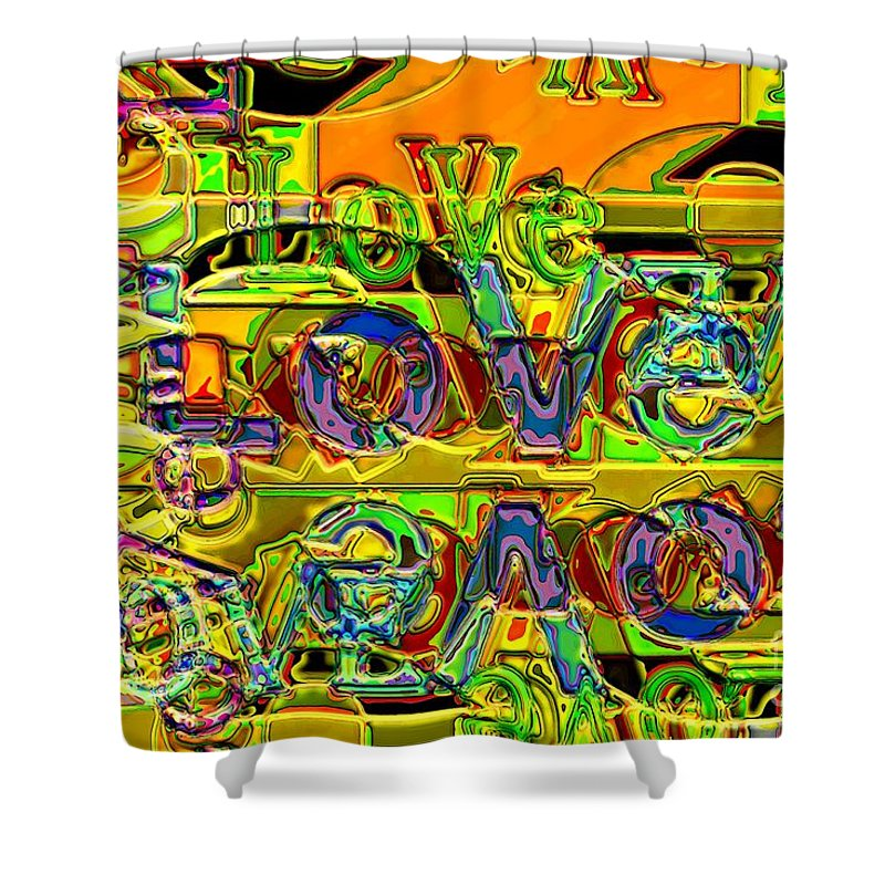 Abstract Shower Curtain featuring the digital art Love Contest by Ron Bissett
