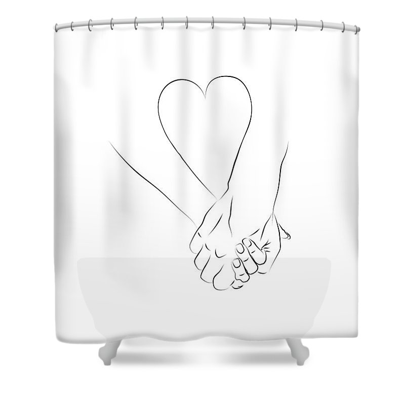 Love Shower Curtain Featuring The Digital Art Couple Holding Hands By BONB Creative