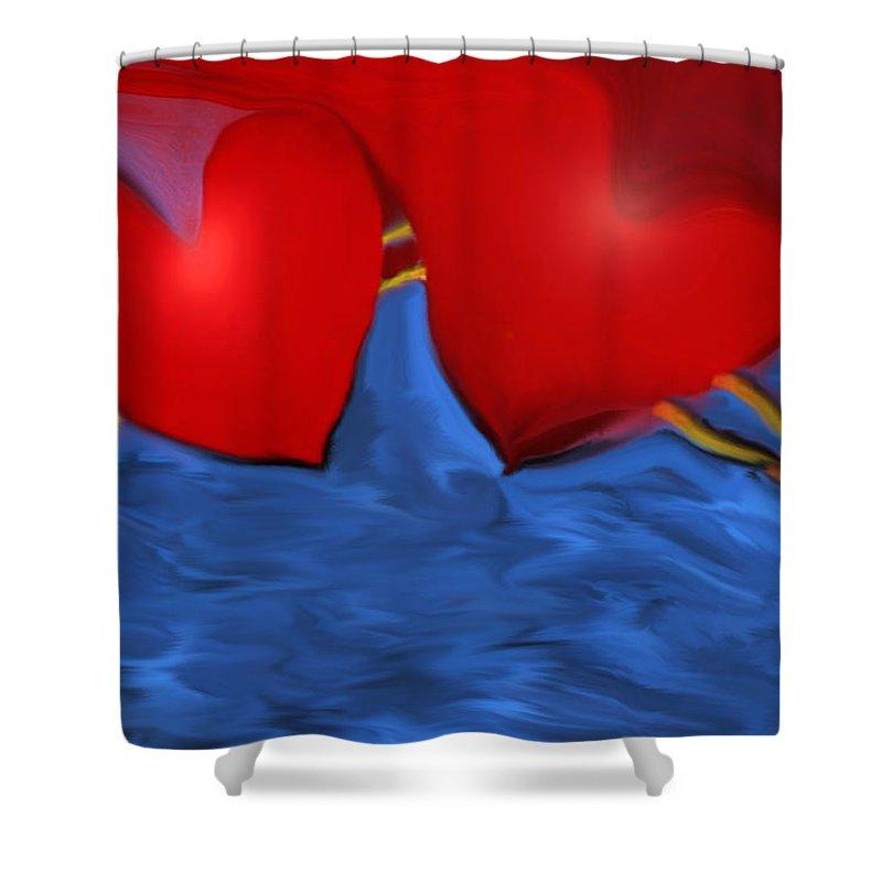 Hearts Shower Curtain featuring the digital art Love Flow by Linda Sannuti