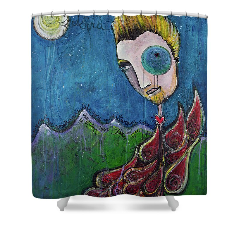 Birdman Shower Curtain featuring the painting Love For Birdman by Laurie Maves ART