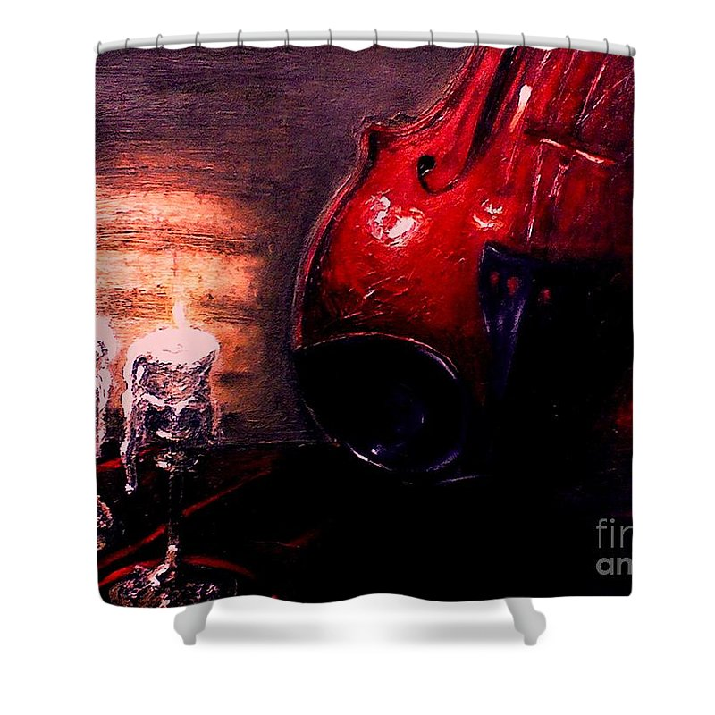 Love Shower Curtain featuring the painting Love For Music by Patricia Awapara