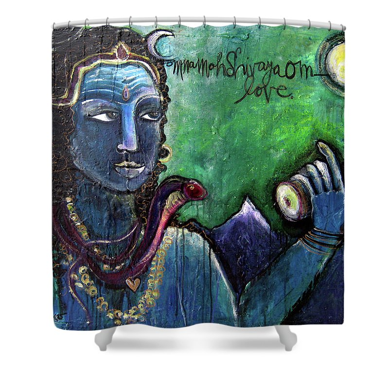 Shiva Shower Curtain featuring the painting Love For Shiva by Laurie Maves ART
