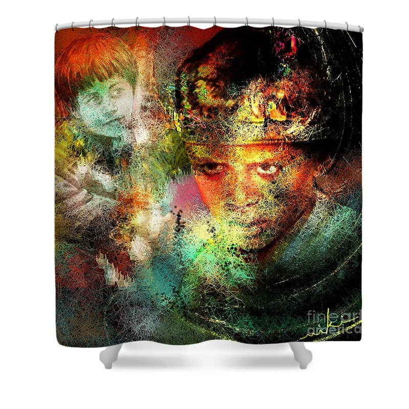 Portrait Shower Curtain featuring the painting Love For The Boy King by Miki De Goodaboom