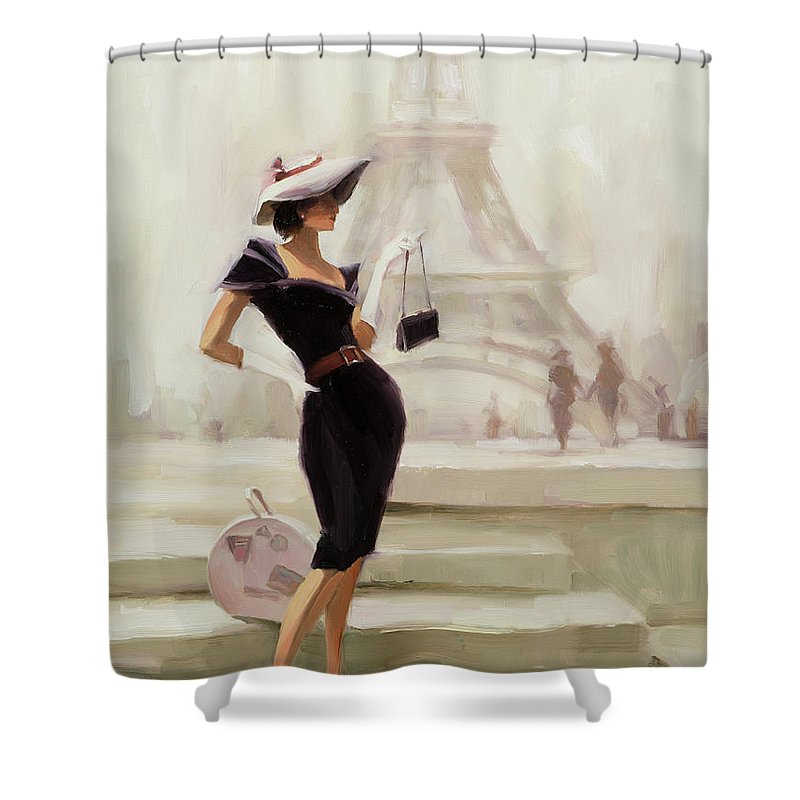Paris Shower Curtain featuring the painting Love, from Paris by Steve Henderson