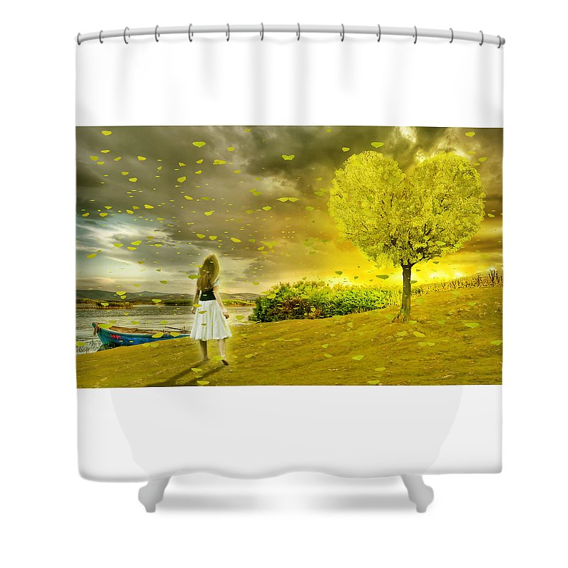 Love Shower Curtain featuring the mixed media Love Is All Around Us And So The Feeling Grows by Marvin Blaine