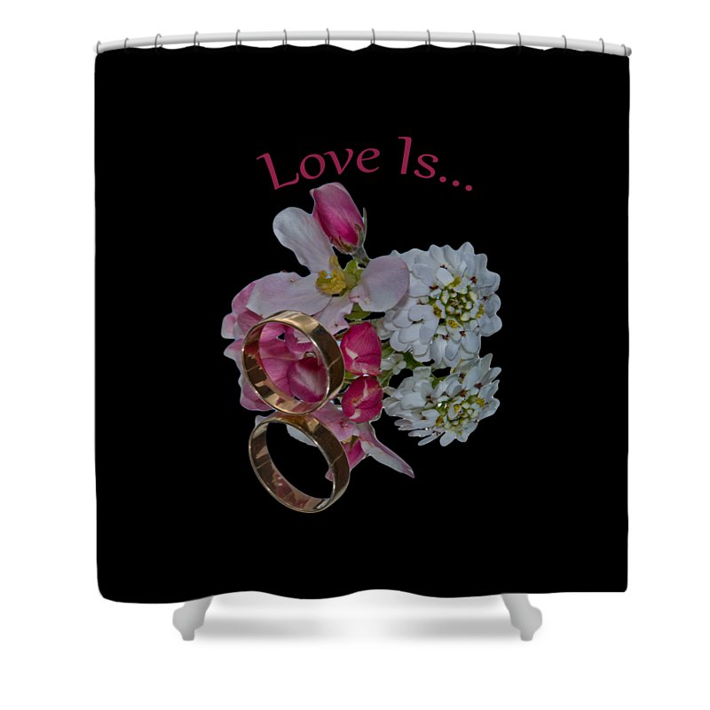 Congratulation Cards Shower Curtain featuring the photograph Love Is by Dave Byrne