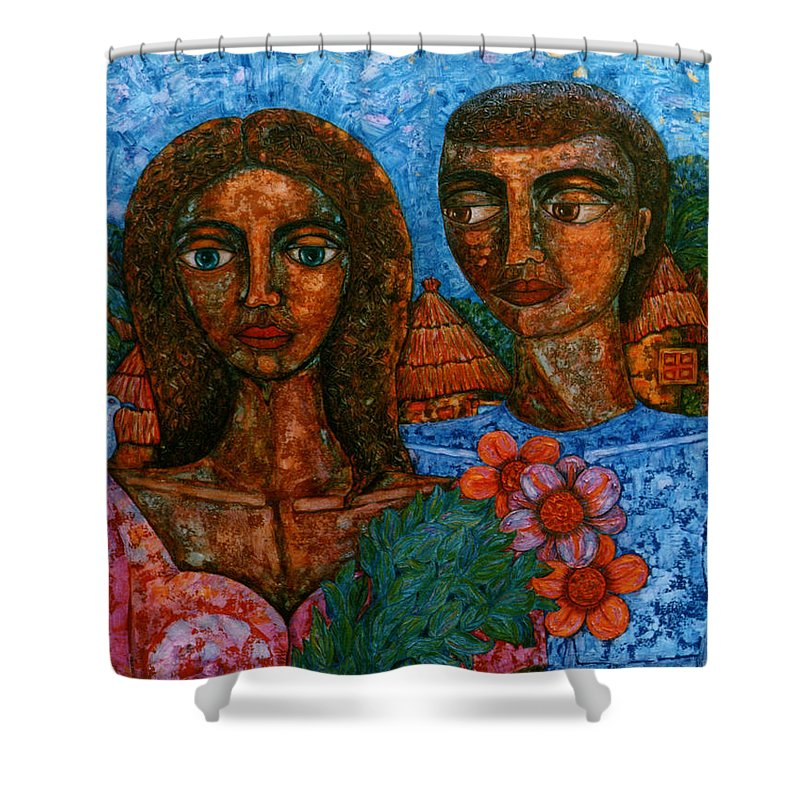 Love Shower Curtain featuring the painting Love Is Like A Bird by Madalena Lobao-Tello