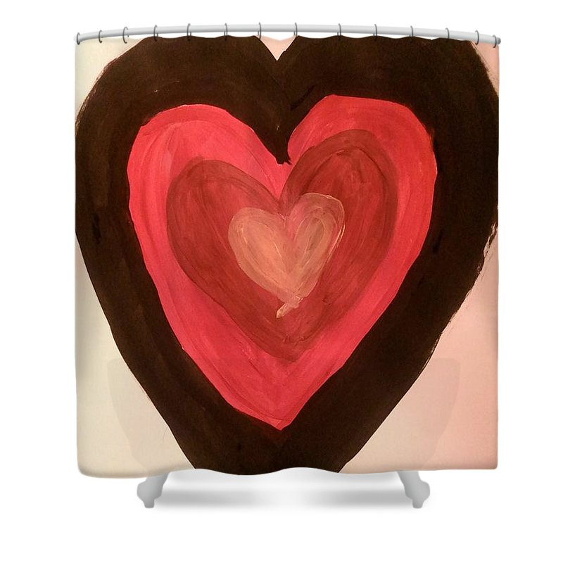 Hearts Shower Curtain featuring the painting Love by Jessica Baker