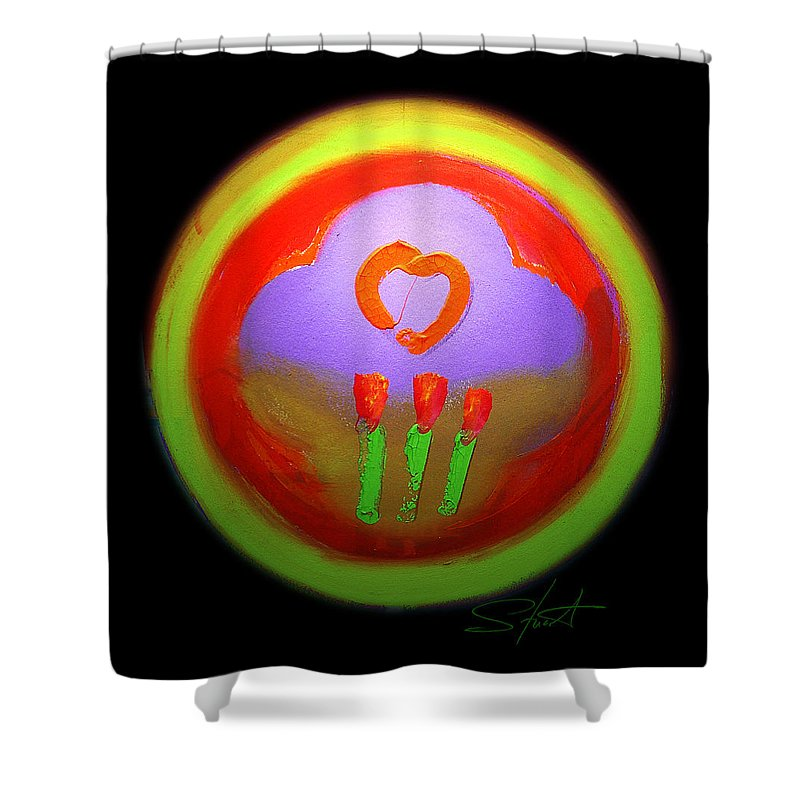 Love Shower Curtain featuring the painting Love Landscape Three by Charles Stuart