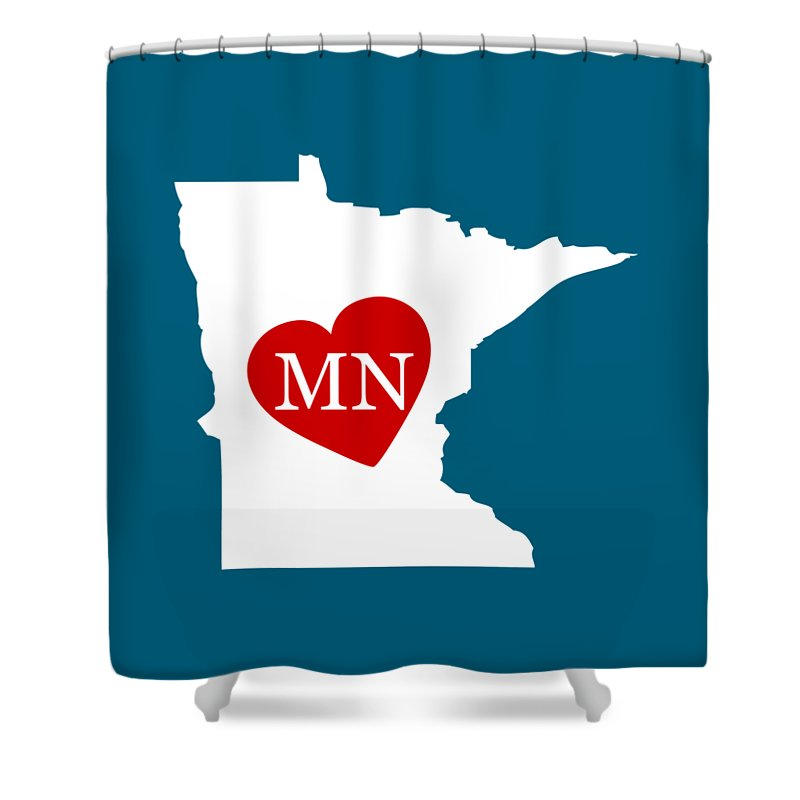 Minnesota Shower Curtain featuring the digital art Love Minnesota White by Custom Home Fashions