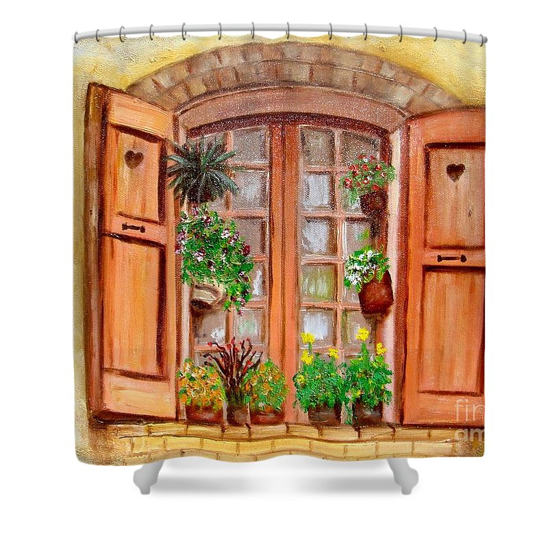 Windows Shower Curtain featuring the painting Love Nest by Laurie Morgan