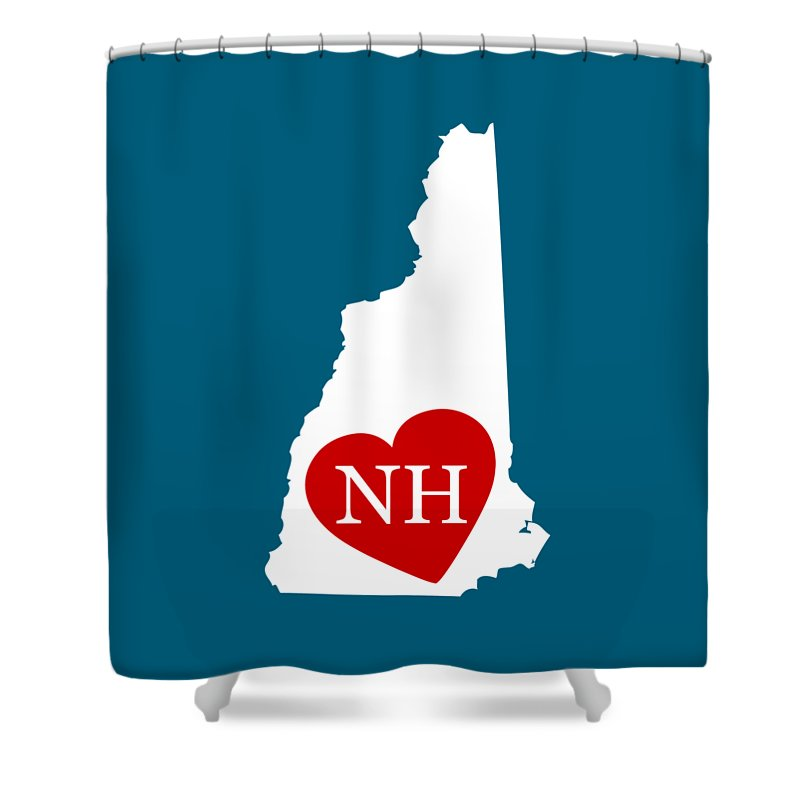 New Hampshire Shower Curtain featuring the digital art Love New Hampshire White by Custom Home Fashions