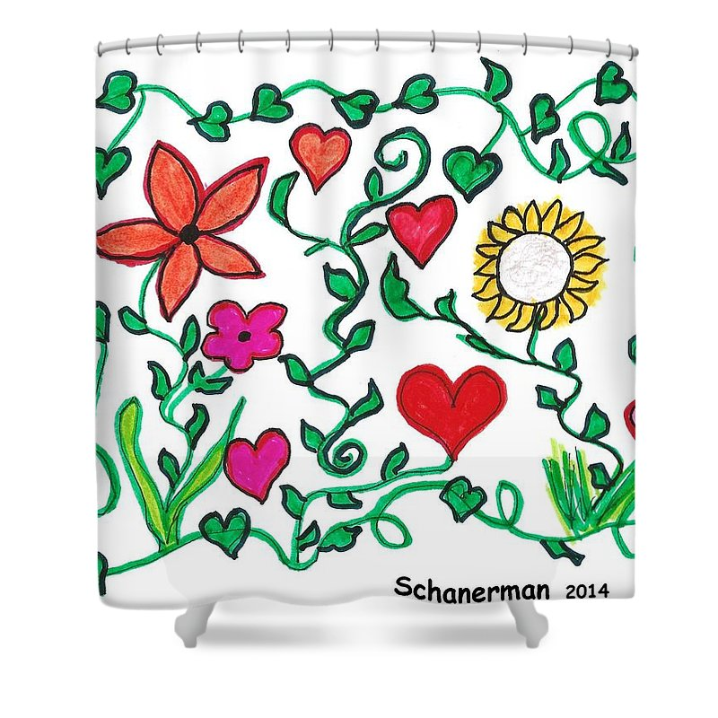Doodle Art Shower Curtain featuring the drawing Love On The Vine by Susan Schanerman