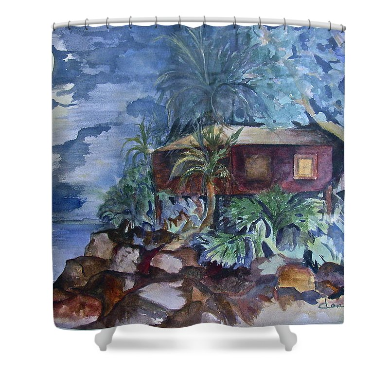 Moomlight Shower Curtain featuring the painting Love Shack by Donna Steward
