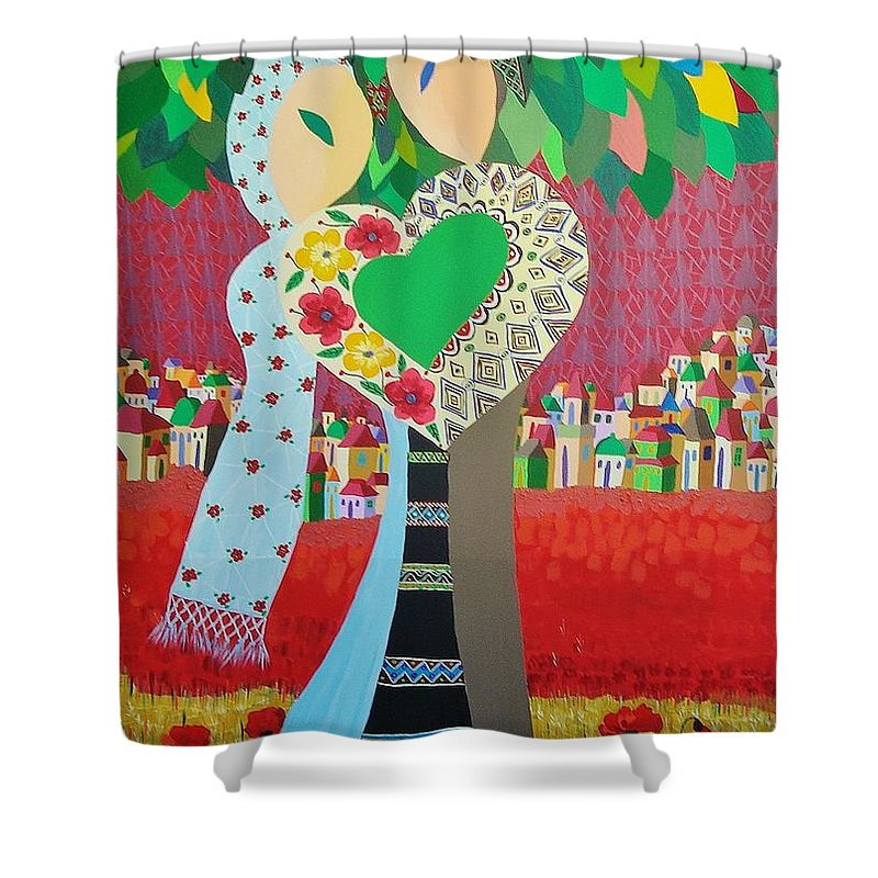 Folk Shower Curtain featuring the painting Love Statement by Mimi Revencu